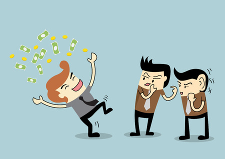 mobbing: Businessman to be gossip to a rich employee Illustration