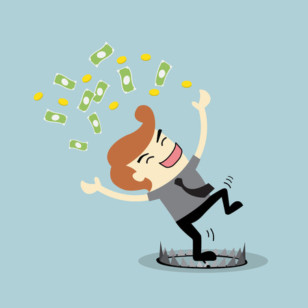 Profit Finance businessman money happy caught in a trap Office man had been cheated Finance risk concept Vector