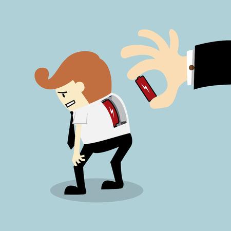 coup de pouce: Fondateur mettre la batterie � son �nergie des employ�s augmenter la puissance de charge concept de travail