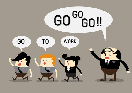stimulate: Boss says to his employee go to work business concept office work concept baldheaded boss active worker teamwork concept