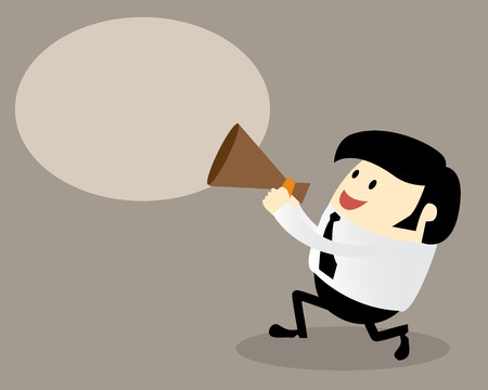 Young office man with a megaphone Business concept attention use in advertising presentations brochures blogs documents and forms etc. Vector