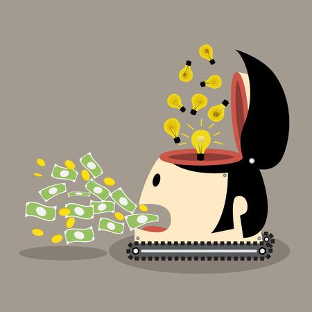 affluence: Change idea to money Robot money Money concept