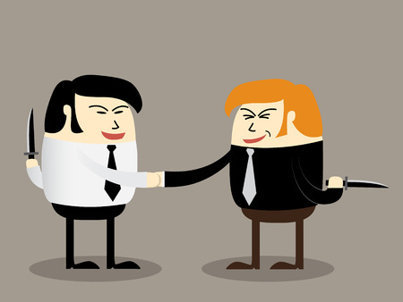 devious: Two businessman with knife doing agreement Blackmail concept partner handshake