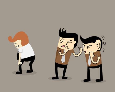Gossip colleague two businessman talk about a colleague