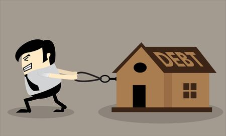 Business man dragging house with a rope Debt concept Finance planing vector illustration