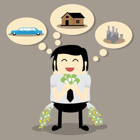 waste money: Uneconomical man Consumer behavior concept finance planning concept