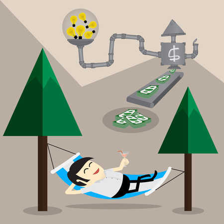 remuneration: Business man relax under the trees with passive income system. finance concept