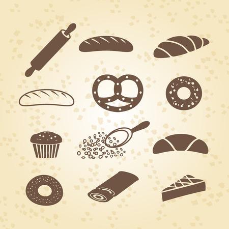 kneading: Set di panificio pasticceria e icona pane Vettoriali