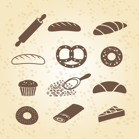 kneading: Set of bakery pastry and bread icon