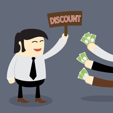 giving money: Sale man holding discount banner and customer giving money. Commercial Marketing concept Illustration