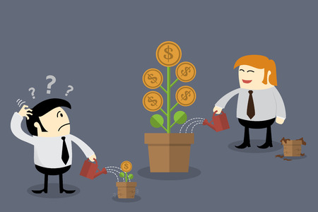 cartoon money: Money flower in different flowerpot size. Finance concept Thinking concept