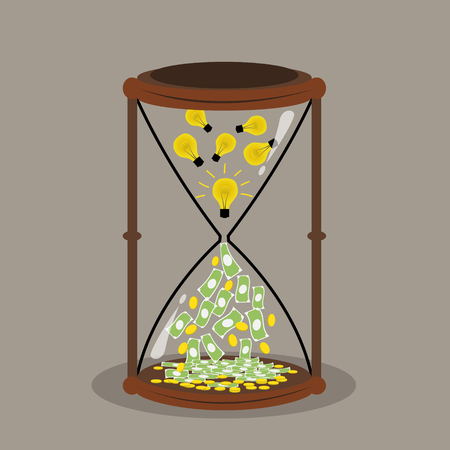 Change idea and time to money money concept idea concept Vector