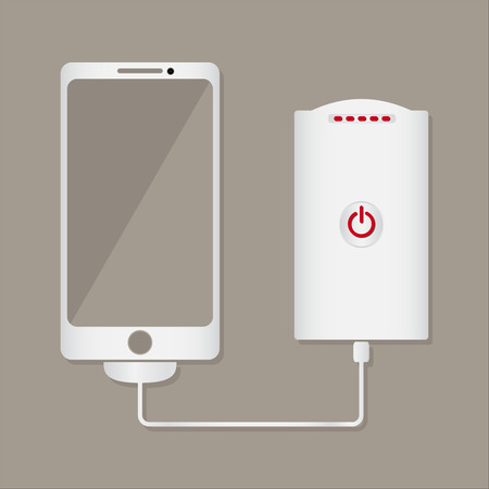 cell charger: Smartphone charger powerbank charging mobile phone battery flat design vector illustration