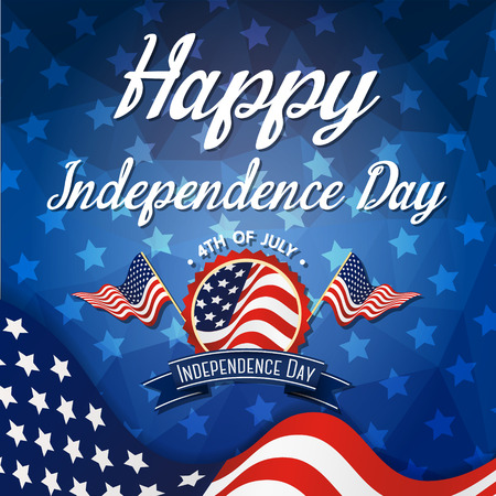 幸せな独立記念日のお祝いのグリーティング カード  イラスト・ベクター素材