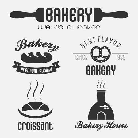 Set of bakery shop logo elements design for badge banner emblem logo 矢量图像