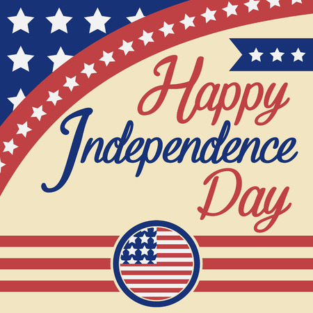 day sign: Happy independence day celebration greeting card 4th of July Vectores