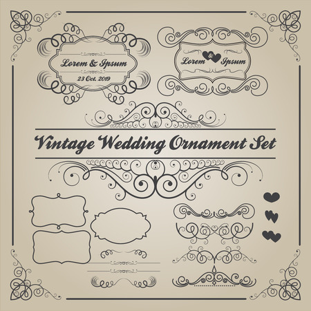 ornaments vector: Set of vintage wedding ornaments and decorative elementsbanner frames badge Vector love element Illustration