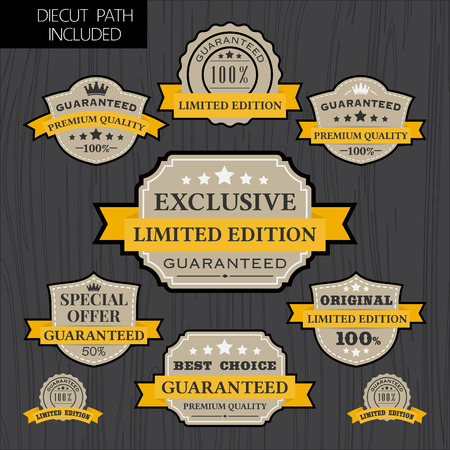qc: Set of vintage label design with yellow ribbon template Retro badge logo template design High Quality Limited edition Guaranteed Premium Quality tag labels Illustration