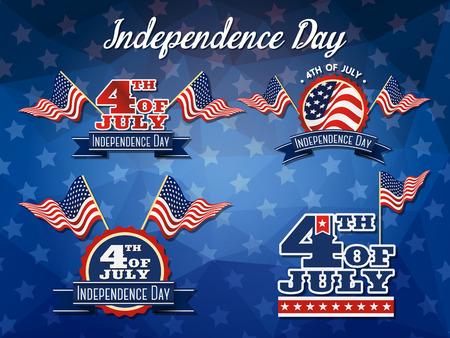 julio: Día de la Independencia de la insignia de la bandera Colección decoración de diseño del logotipo 4 de logo insignia de julio
