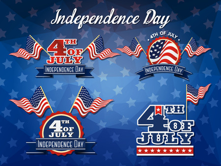 parade: Independence Day Badge Collection Flag decoration logo design 4th of July badge logo Illustration