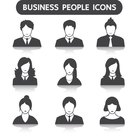 people icon: Male and female business people icon set
