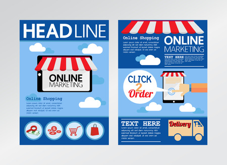 E commerce online marketing magazine cover flyer brochure templateA4 size Illustration