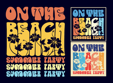 swimming shoes: Vintage typography on the beach design For T-shirt, poster, garment printing