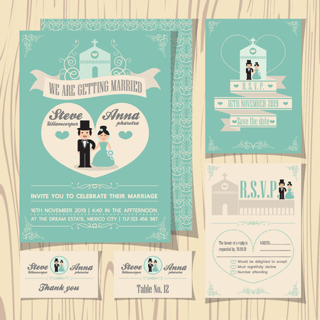 Vintage soft green theme wedding invitation with wedding couple cartoon template, ribbon and church background, RSVP card, guest card, table number, save the date 矢量图像