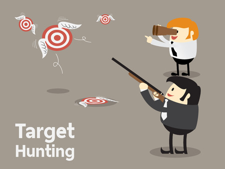 target market: Goal setting, Shooting flying target, Target hunting for business concept, Focus concept Vector illustration Illustration