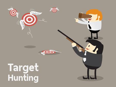 El establecimiento de objetivos, Tiro volar objetivo, Target caza de concepto de negocio, el concepto de enfoque ilustración vectorial