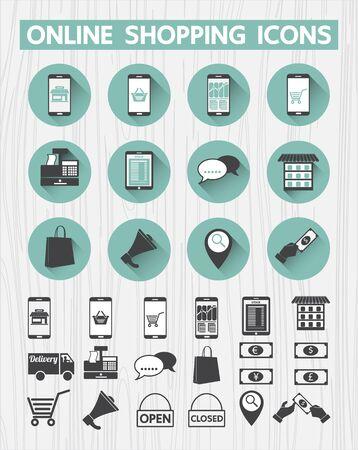 interface web: Ic�ne de shopping en ligne pour mettre en interface web, application mobile, Magasin, promotion, publicit�, le concept E-commerce Illustration