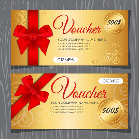 bow ribbon: Voucher template, Gift certificate, Coupon template with bow and ribbons. Premium gold background and red ribbon. Illustration