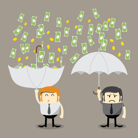 Money falling, Coin falling from sky, money catching by umbrella, Finance concept, Business concept, make money Stock Illustratie