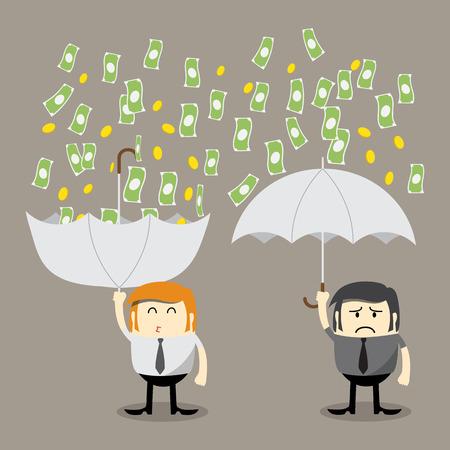 pieniądze: Pieniądze spadają, spadają z nieba na monety, pieniądze łapania parasolem, koncepcja finansów, koncepcji, zarabiać pieniądze Ilustracja