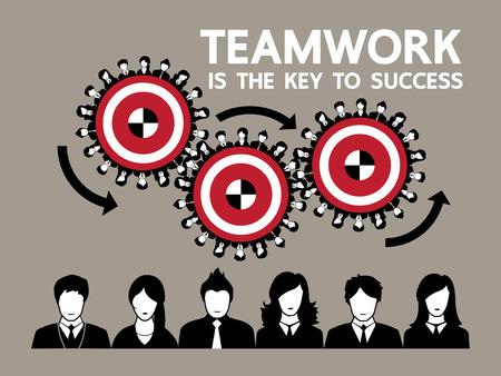 career success: Human gears teamwork concept design, Vector illustration Illustration