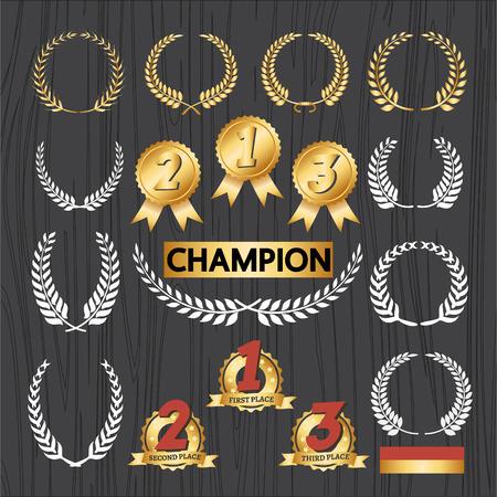 reconocimientos: Guirnalda del laurel elementos decorativos y adjudicación establecidos insignia, icono de la decoración y el ornamento Premio ilustración vectorial corona