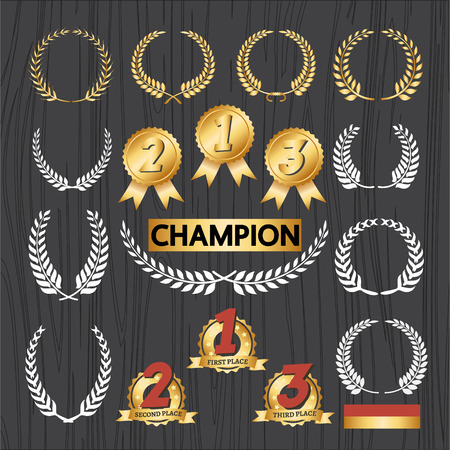 wreath set: Laurel wreath Decorative elements and award badge set, Award decoration icon and wreath ornament Vector illustration