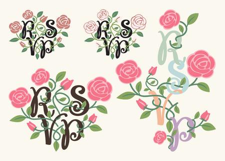 rsvp: RSVP typography and flower element for wedding decoration card Illustration