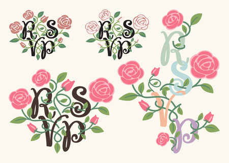 distressed: RSVP typography and flower element for wedding decoration card Illustration