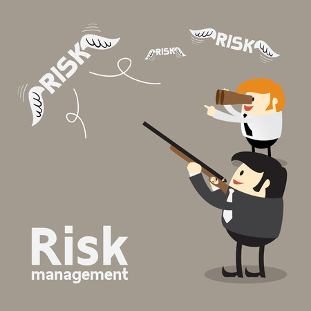 investment: Risk Management Cartoon Concept, two Business man shooting many risk in the sky, Vector Illustration Illustration