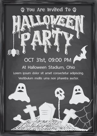 Halloween chalkboard style in black wood border design for invitation, Billboard, flyer, promotion, Vector illustration Illustration