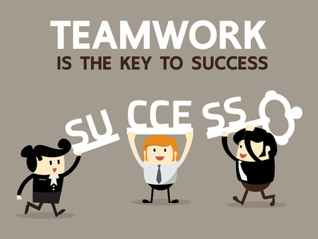 success business: Teamwork is the key to success, Business Team work concept, Vector illustrator