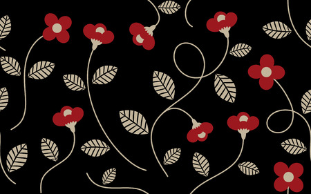 garment: Vintage Red Flower and Leaves Pattern on Black Background, For textile garment printing, Background, wallpaper