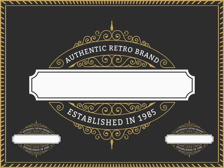 Vintage Badge and Labels Brand name, Design for Banner, invitation, , emblem, food menu, sticker, housing estate, Insignia  Retro Decorative Flourishes Calligraphic  Label Template Illustration