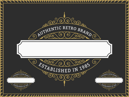 Vintage Badge and Labels Brand name, Design for Banner, invitation, , emblem, food menu, sticker, housing estate, Insignia  Retro Decorative Flourishes Calligraphic  Label Template 矢量图像