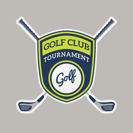honorable: Authentic Golf Club Badge Template Design With golf ball, golf clubs in green and navy blue color tone  For Emblem, Insignia, Label, Sticker, T-Shirt screen and other design Illustration