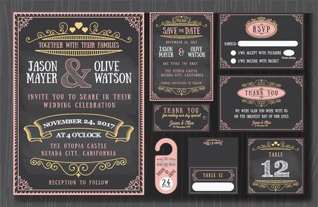 婚禮: 復古婚禮請柬黑板設計集包括邀請卡,保存日期,RSVP卡,感謝卡,表號,禮品標籤,放置卡片,回复卡片,保存日期門衣架 向量圖像