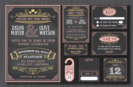 a wedding: Vintage wedding invitation chalkboard design sets include Invitation card, Save the date, RSVP card, Thank you card, Table number, Gift tags, Place cards, Respond card, Save the date door hanger Illustration
