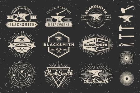 Modern Vintage Blacksmith and Metalworks Badge Logo Template Design with anvil, hammer, starburst. Vector illustration
