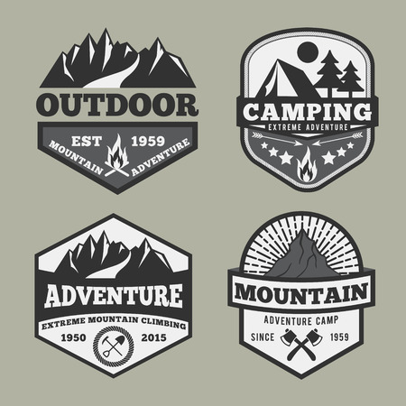 Set of monochrome outdoor camping adventure and mountain badge , emblem logo label design Vettoriali
